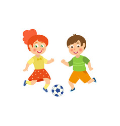 flat boy girl character playing football vector image vector image