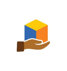 Gift box hand logo vector