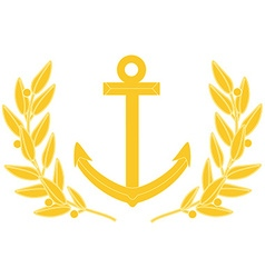 Gold anchor and laurel wreath vector image vector image