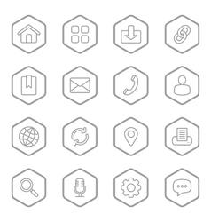 Gray line web icon set hexagon vector