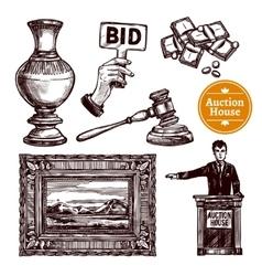 Hand drawn auction set vector
