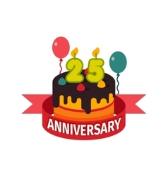 Happy twenty fifth birthday badge icon vector image