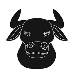 Head of bull icon in black style isolated on white vector