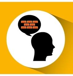 Head silhouette black icon bricks construction vector