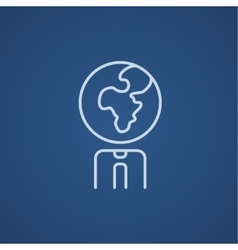Human with globe head line icon vector