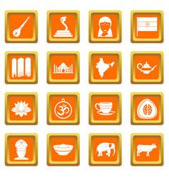 India travel icons set orange vector