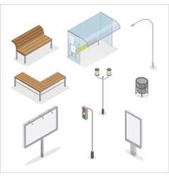 Isometric urban objects traffic light city bench vector