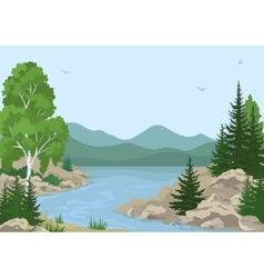 Landscape with trees and mountain river vector
