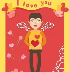 Love red postcard vector