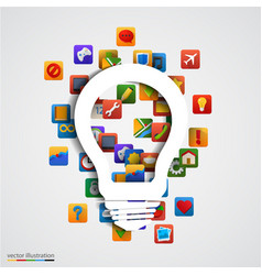 modern creative light bulb with application icon vector image vector image