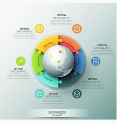 Modern infographic design layout 6 connected vector