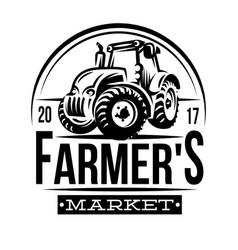 monochrome of a farmer market vector image vector image
