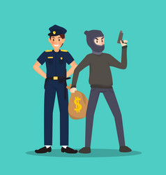 Police and thief in different character on sky vector