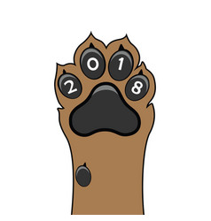 puppy animal paw tattoo of chinese new year of vector image