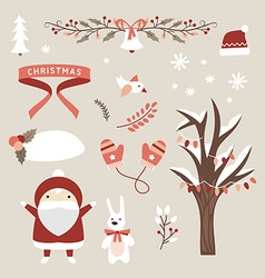 Set of Christmas and New Year Cute Design Elements vector image