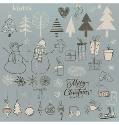 set with cute winter elements vector image vector image