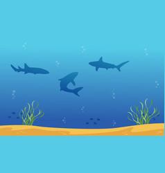 Silhouette of shark on ocean landscape vector