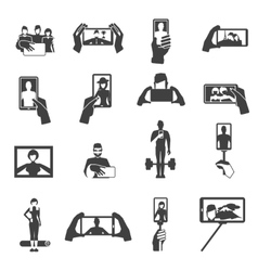 Taking selfie photos black icons set vector