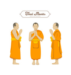 thai monks greetings collections vector image vector image