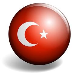 Turkey flag on badge vector