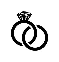 Wedding rings simple icon vector