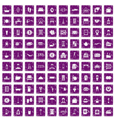 100 inn icons set grunge purple vector