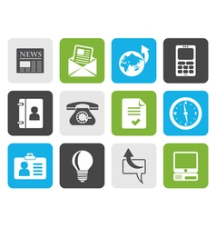 Flat business and office icons vector