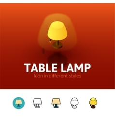 Table lamp icon in different style vector