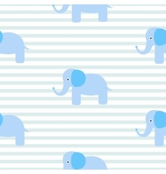 Cute blue elephant seamless pattern vector