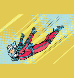 Woman superhero flying in a futuristic space suit vector