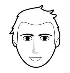Black silhouette cartoon front face man with vector