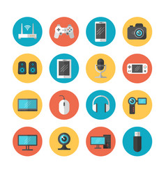 Electronic gadgets and device flat icons vector