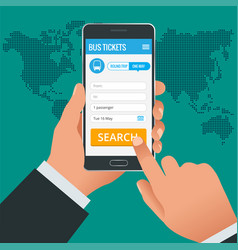 Bus tickets booking online app phone concept book vector