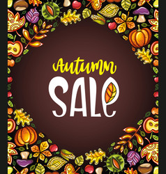 Autumn harvest festival greeting card background vector