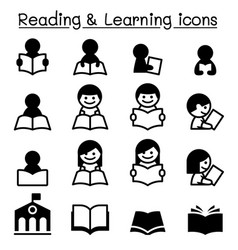 Reading learning study icons vector