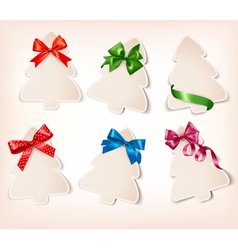 Set of beautiful gift cards with gift bows with vector image