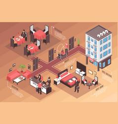Isometric hotel horizontal background vector