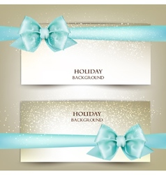 Elegant Christmas greeting cards with blue bows vector image
