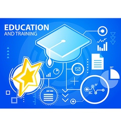 Bright star of education and training on blu vector