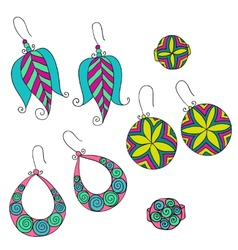 Set of different female earrings vector