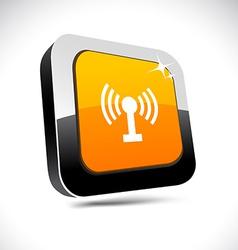 Radio 3d square button vector