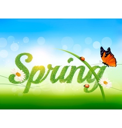 Spring background with grass sky and a butterfly vector