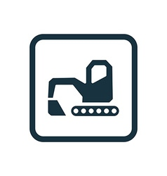Excavator icon rounded squares button vector