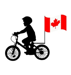 A kid rides a bicycle with australia flag vector