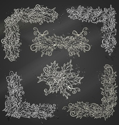 Set of chalk holly berries page decorations and vector