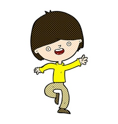 Comic cartoon happy boy dancing vector