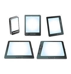 Set of tablet computers ans mobile phones with whi vector