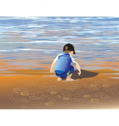 boy lakeside vector image