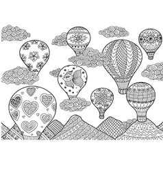 Hot air balloon coloring vector