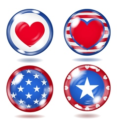Glass buttons with usa symbols vector